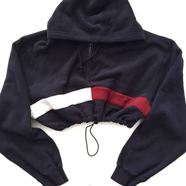 Reworked Tommy Flag Crop Hoody Navy ($38) ❤ liked on Polyvore featuring tops, hoodies, navy blue tops, blue top, blue crop top, navy tops and crop top
