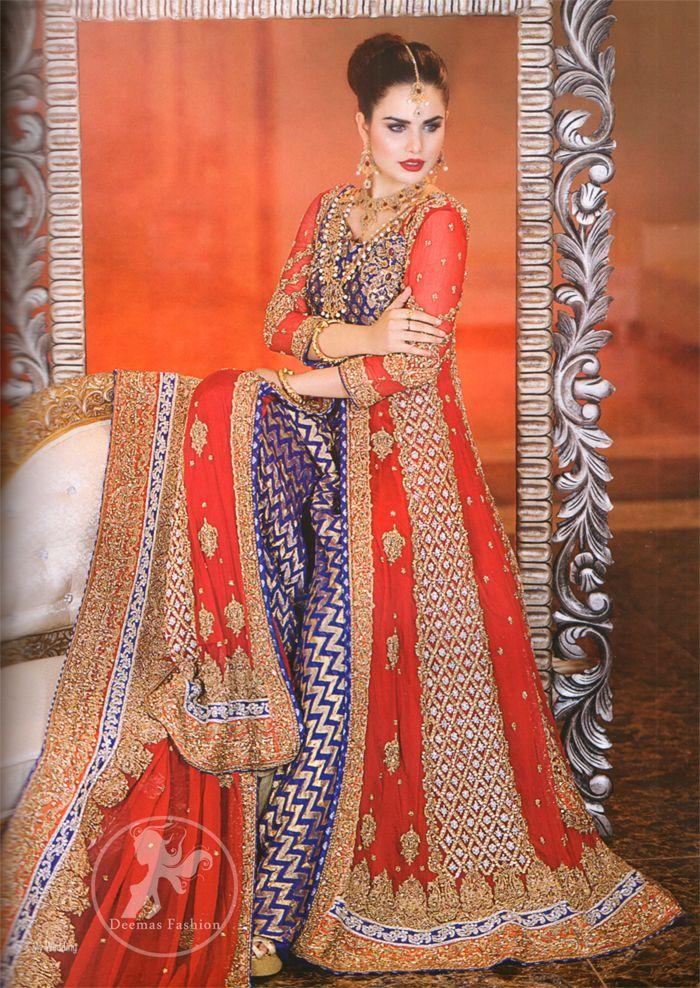 Bright Red Front Open Gown Royal Blue Banarsi Shirt | Sharara, Royal ...