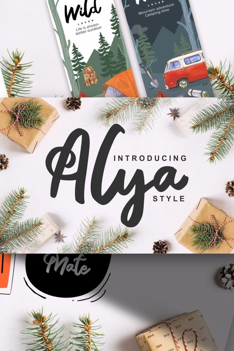 Alya Brush Style Font 87583 Branding materials, Fonts