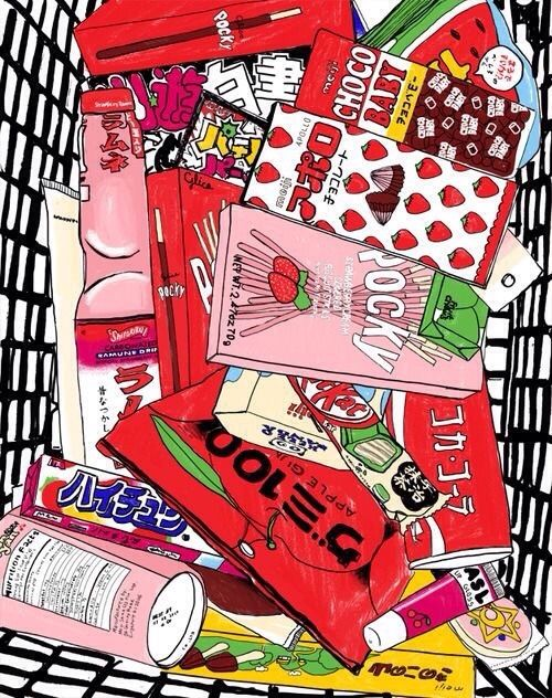 Conbini Food Candy Anime Cute Art Kawaii Wallpaper Aesthetic Anime