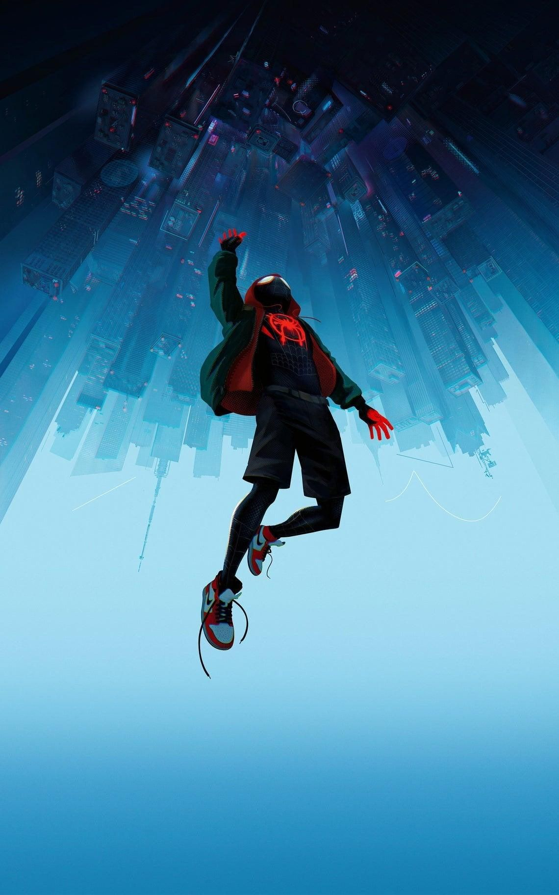 Spider Man Into Poster Framed Matte Canvas