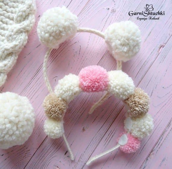 Photo of pom pom headband for a photo shoot baby one size multicolored