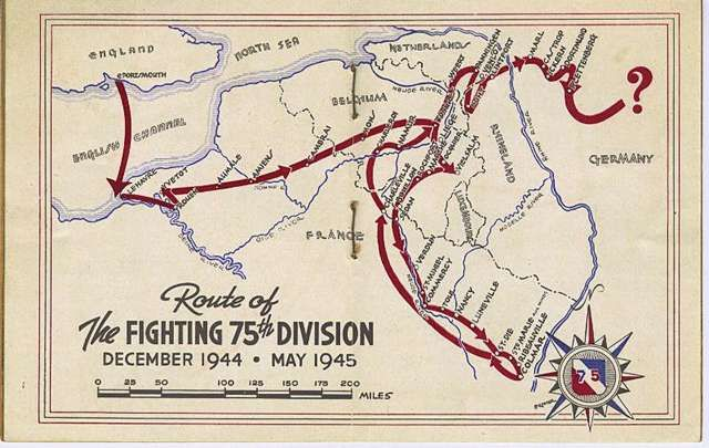 Th Infantry Division Of The US Army Route And Campaign Map Of - Us army ww2 maps