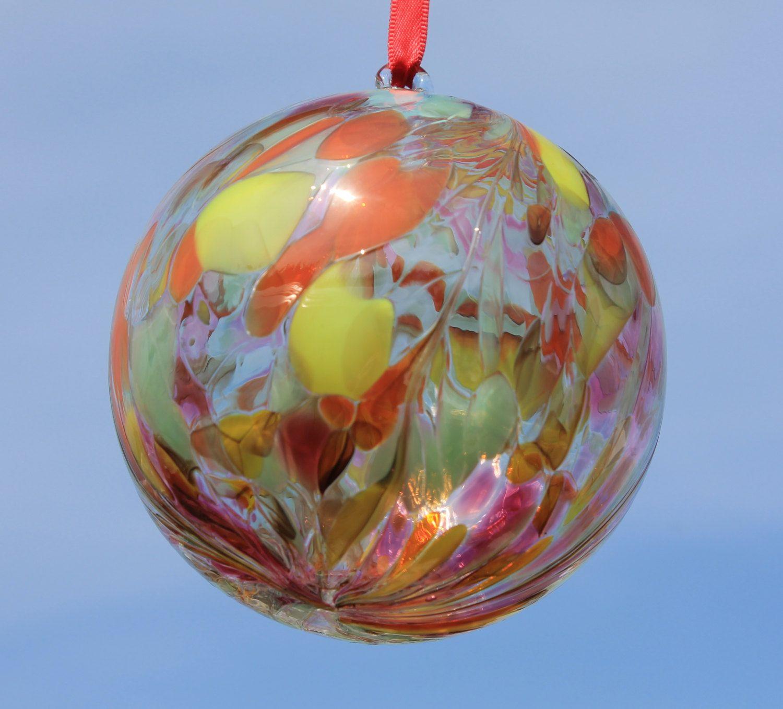 Friendship ball ornament - Handblown Glass Friendship Kugel Witches Ball 10cm Summer Sunrise By Glenariffgifts