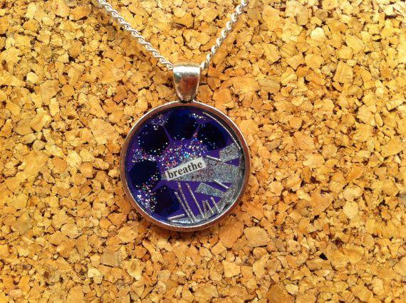 BREATHE OOAK Resin Pendant Silver Zinc Alloy Frame by wandandwear, $36.25