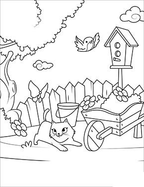 Ausmalbild Fruhling Katze Spielt Im Garten Ausmalbilder Fruhling Lustige Malvorlagen Ausmalbild