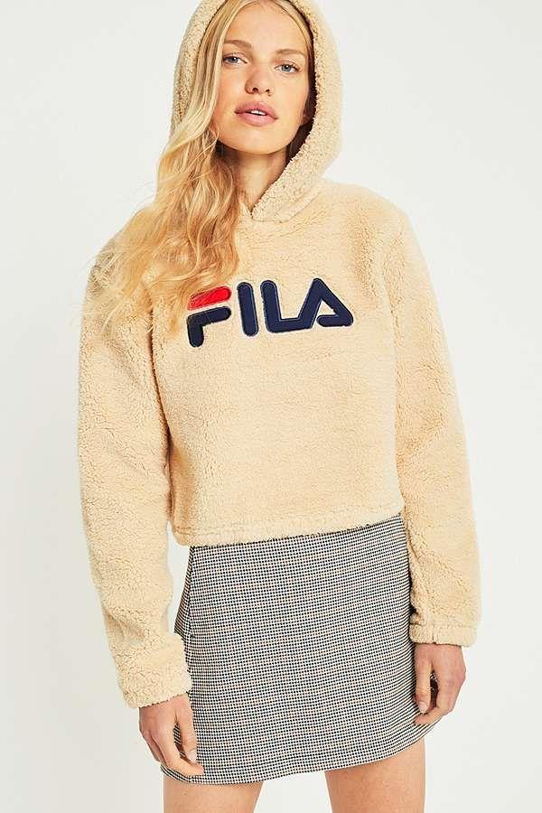 plus récent ab168 b5fee FILA Cream Cropped Teddy Hoodie | Loungewear | Fila sweat ...