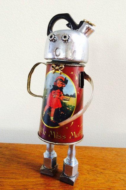 Robot sculpture, robot, Assemblage art doll, robots, Found Object Art, Found Object Robot, Assemblage Art, Found Objects - Miss Muffet