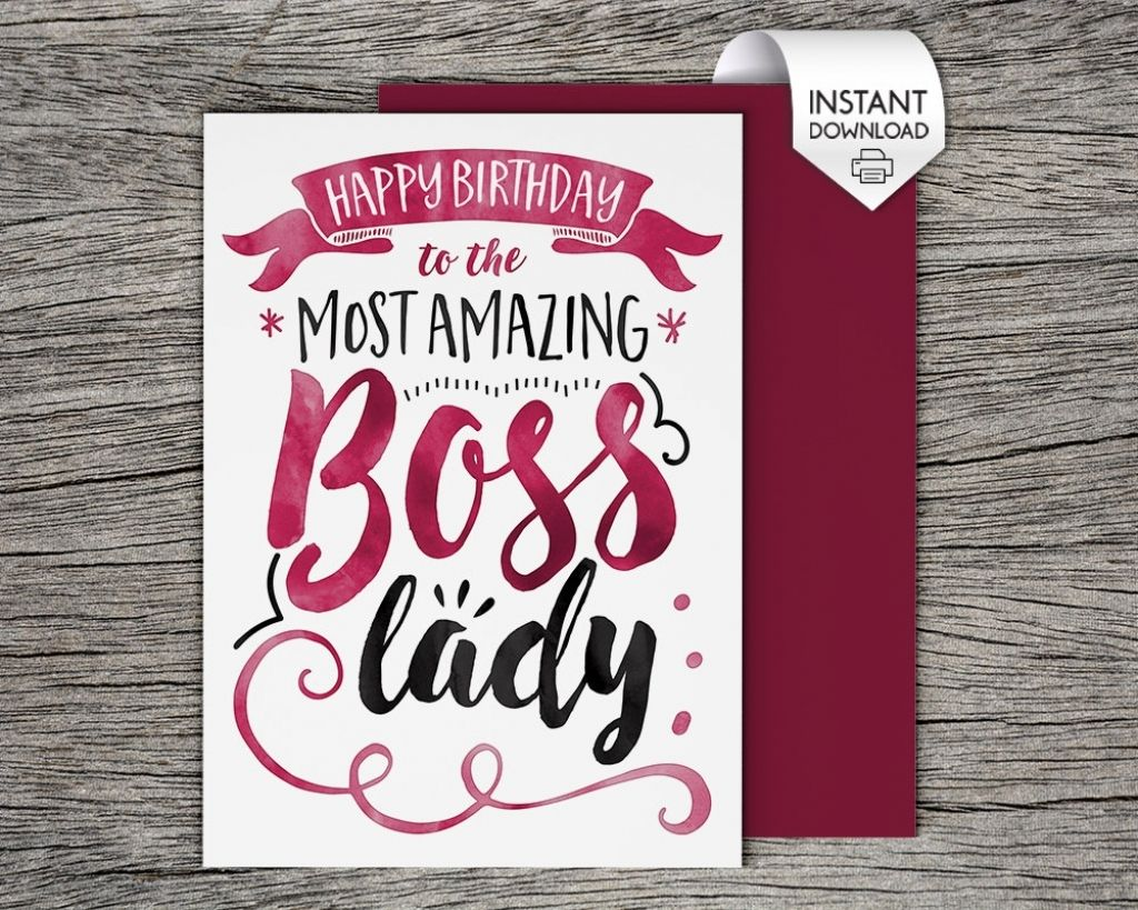 printable card happy birthday to the most amazing boss lady | happy