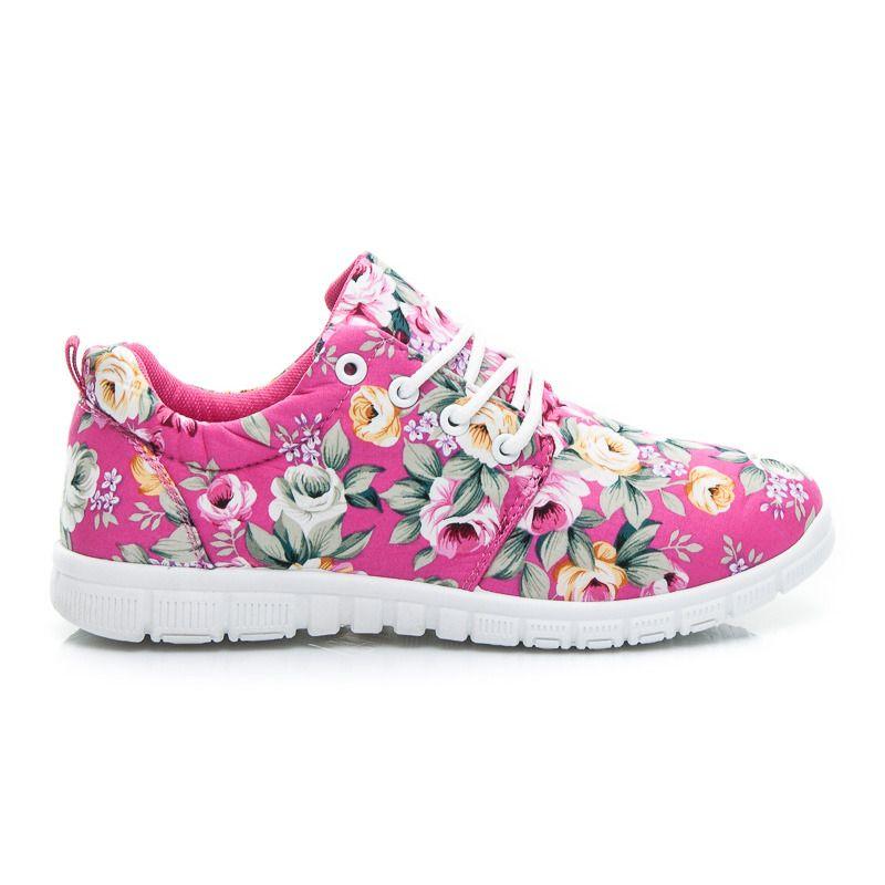 Sportowe Buty Flower Stylowe Obcasy Shoes Sneakers Fashion