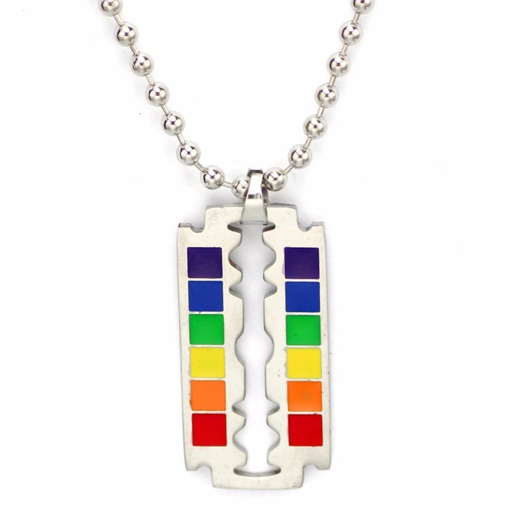 Stainless steel punk rock rainbow razor blade pendant necklace