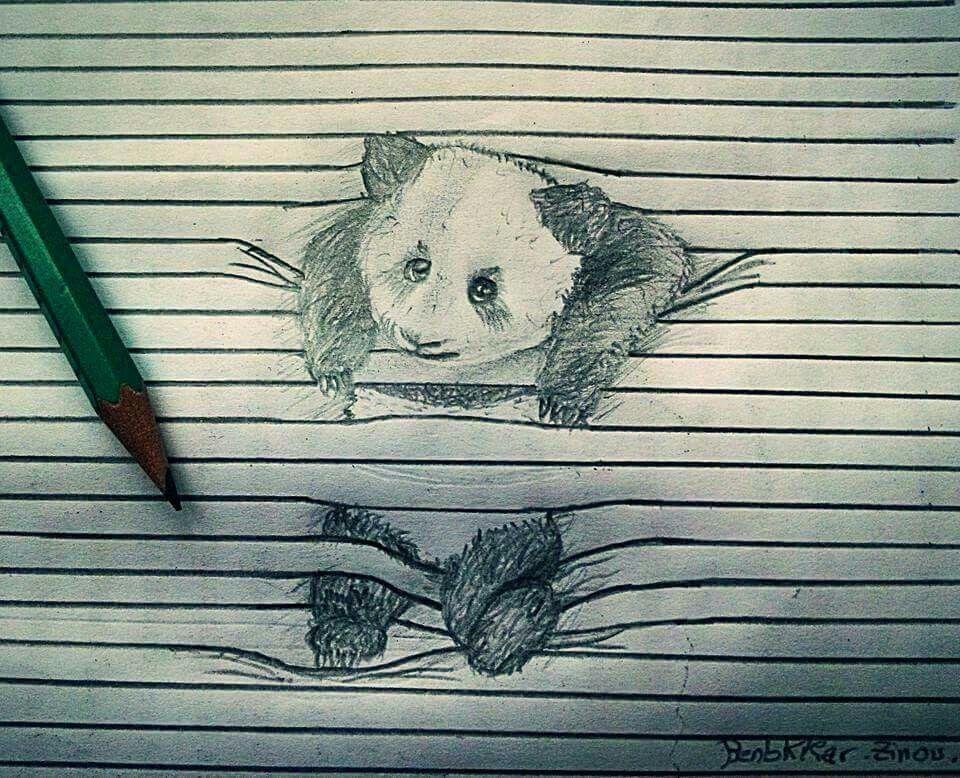رسم باندا بقلم الرصاص الرسام زين العابدين بن بكار الجزائري Art Moose Art Animals
