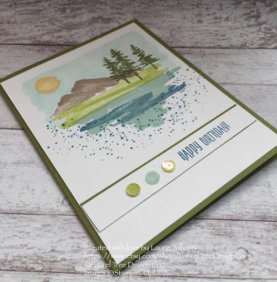 Birthday Card FREE SHIPPING Happy Handmade Beach Pine Trees