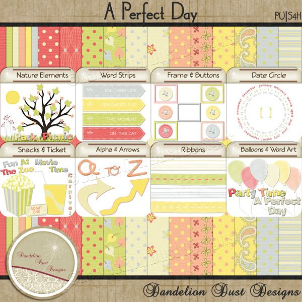 Digital Scrapbooking A Perfect Day Kit #DandelionDustDesigns #DigitalScrapbooking