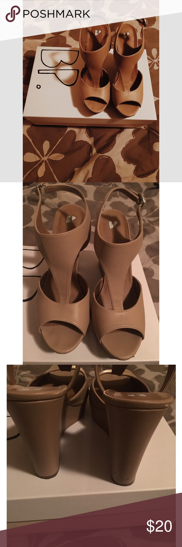 BP Nude Wedge! Only worn twice! Have a few scuffs, but other than that they are in perfect condition! They got true to size, but are just a little on the narrow side! bp Shoes Wedges