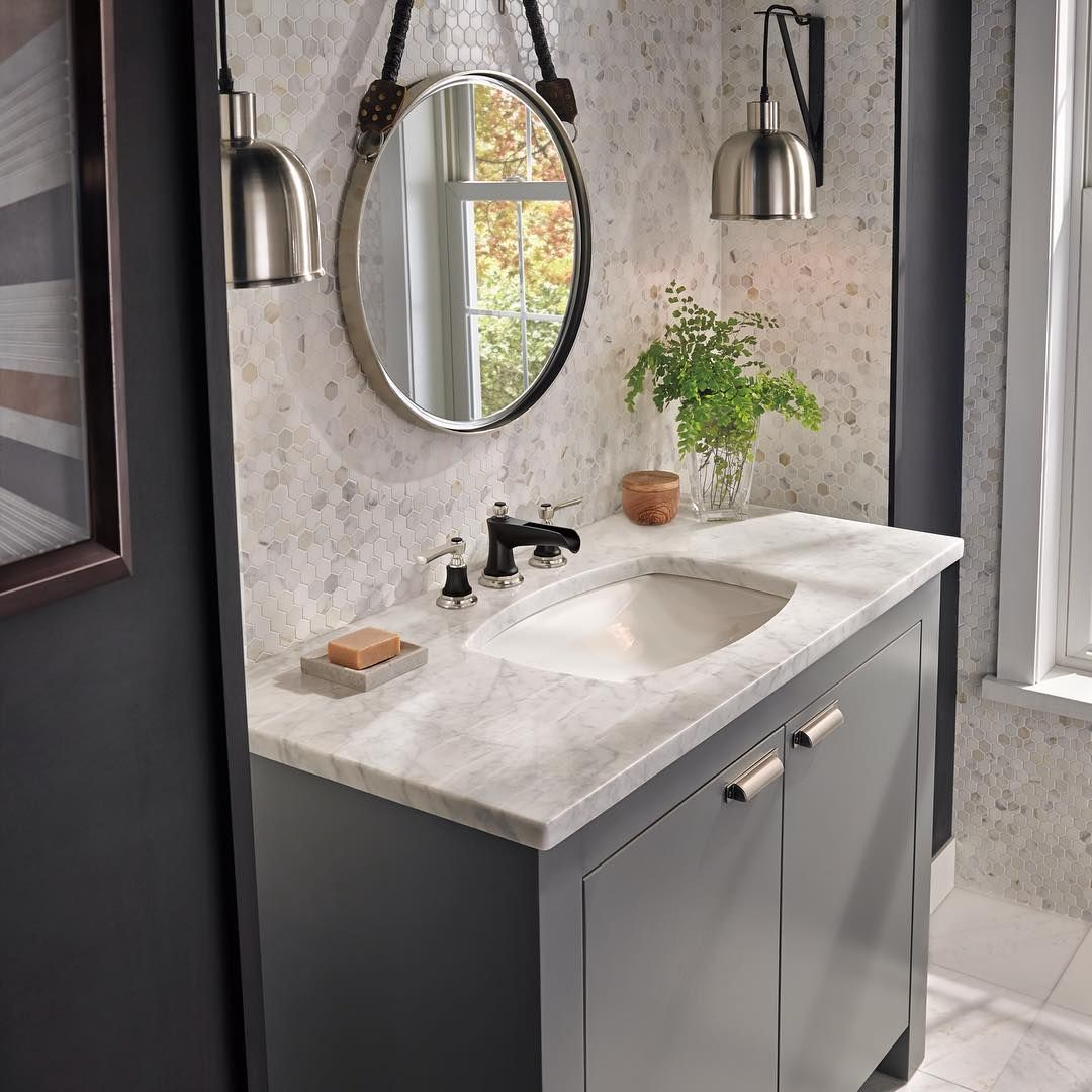 Neutral Colors For Small Powder Rooms: Industrial Lighting And A Nautical Mirror Anchor Neutral