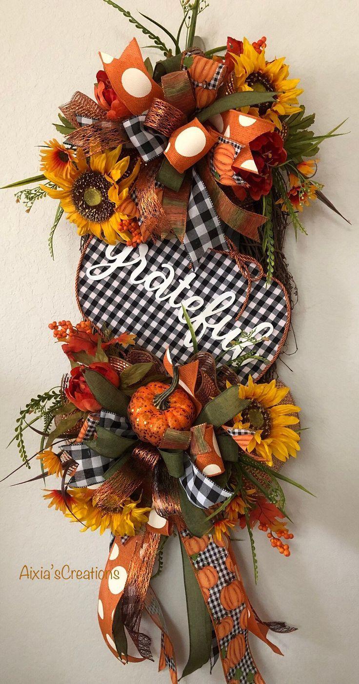 Photo of Fall Wreath, Grapevine Wreath, Oval  Wreath, Grateful Fall Wreath, Plaid Pumpkin Wreath