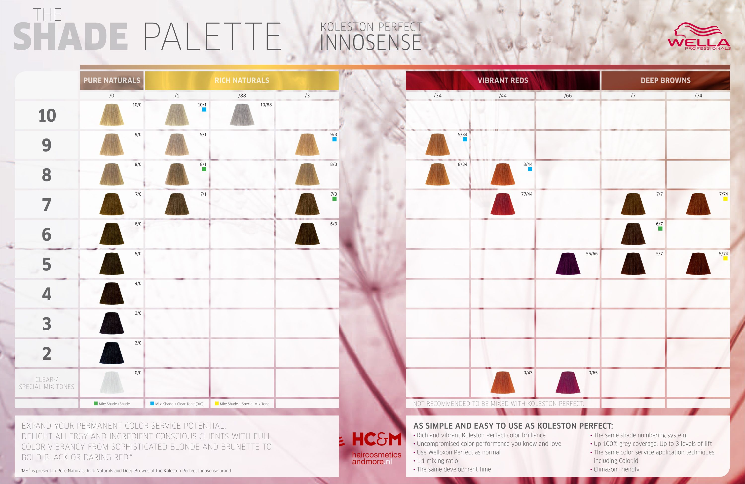 Wella professionals koleston perfect innosense shade palette colour chart color charts hair also rh pinterest