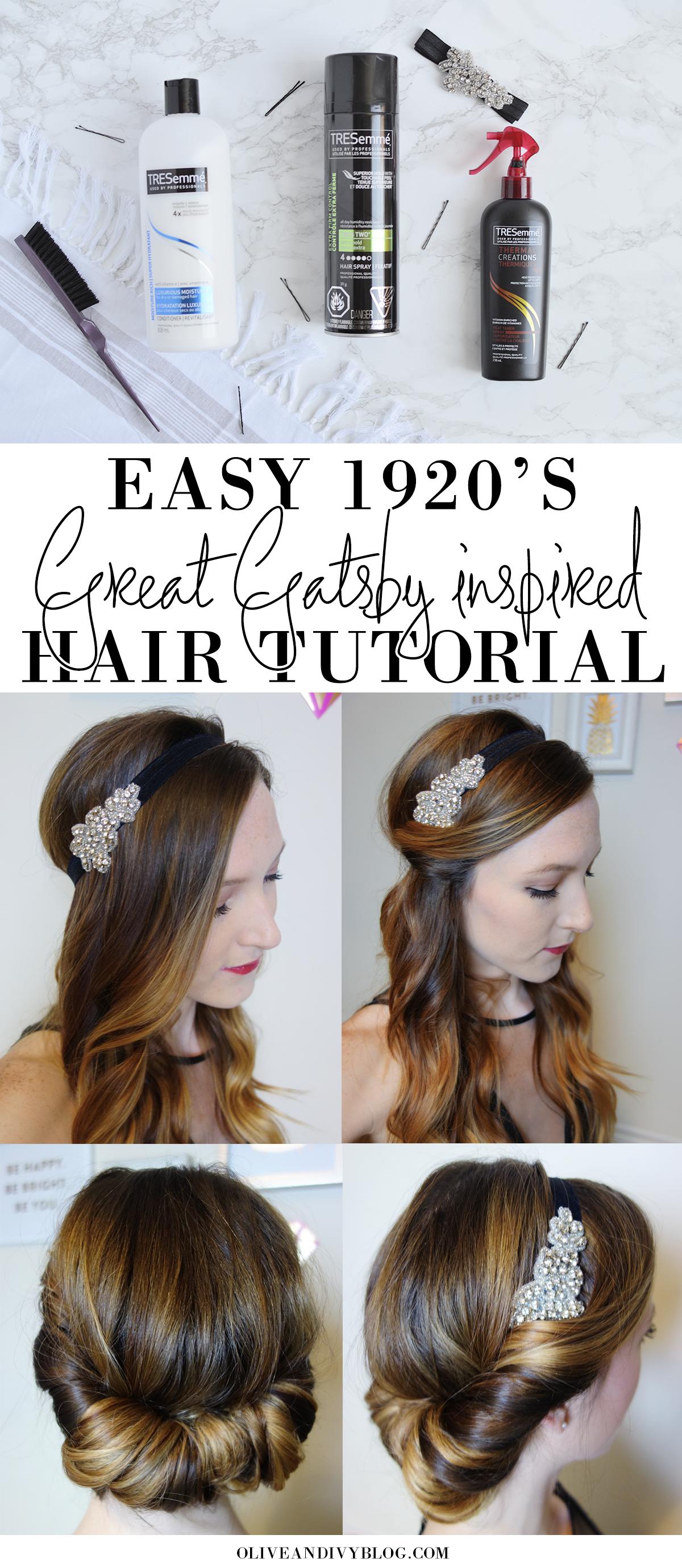 Easy 1920 s Great Gatsby Hair Tutorial Pinterest