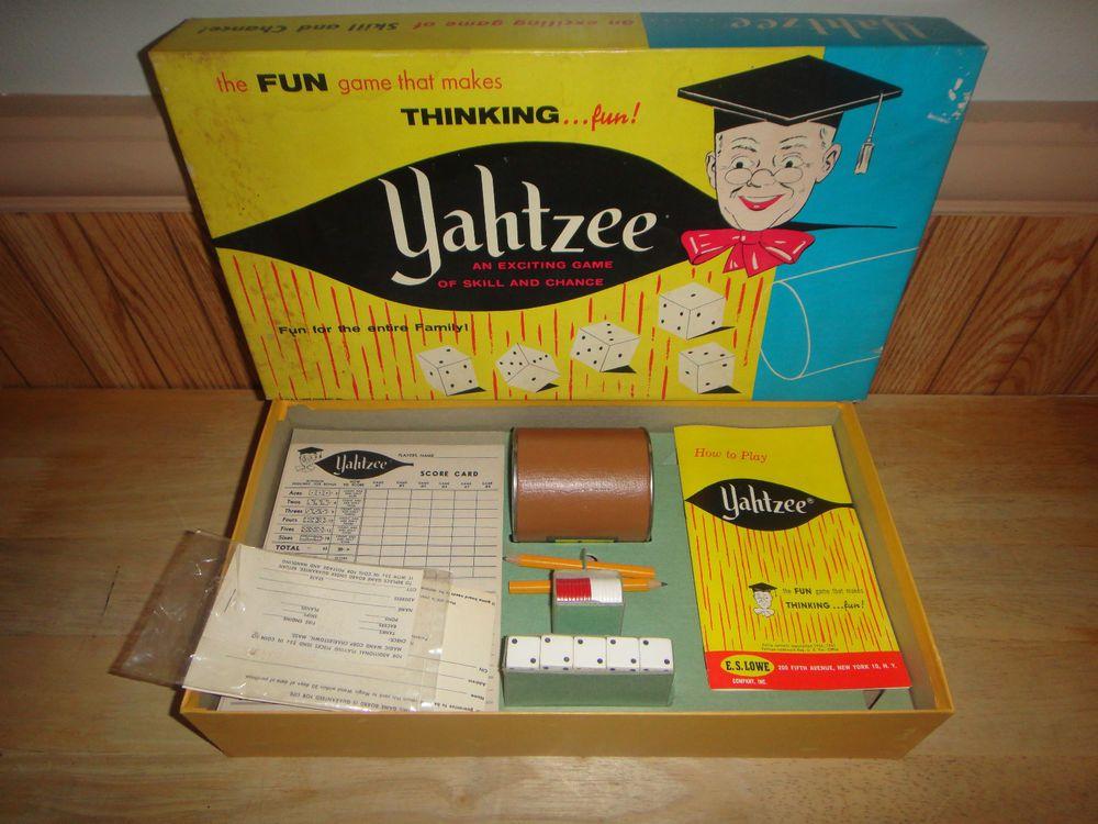 Vintage 1961 YAHTZEE Dice Board Game E.S. Lowe Co 950