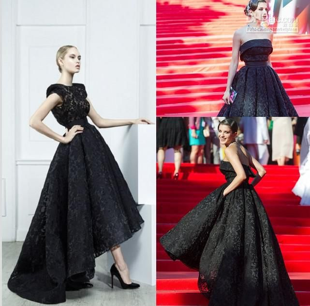 New Arrival Designer Ankle Length Black Lace A Line Red Carpet ...