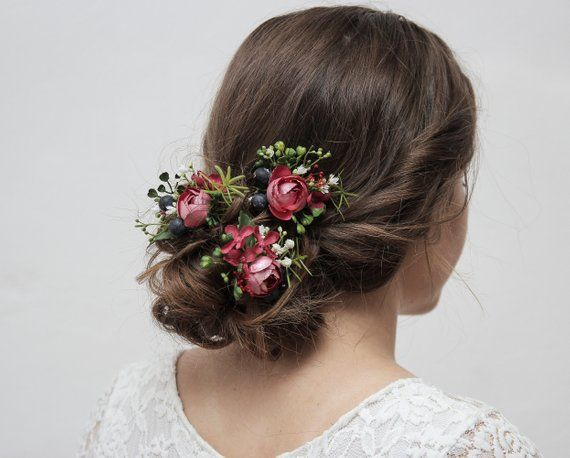 Cerise Pink Navy Flower Hair Pin Set Floral Bridal Hair Pins