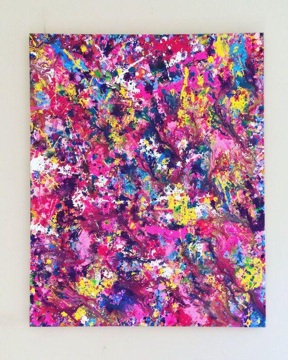 cd7ab58d8 XL Splatter Artwork Pink Painting Abstract Canvas Art Original ...