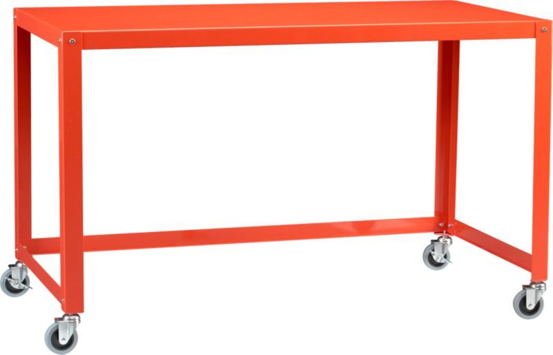 Go Cart Bright Orange Desk In All Gifts Cb2 Orange Desks Unique Desks Modern Desk