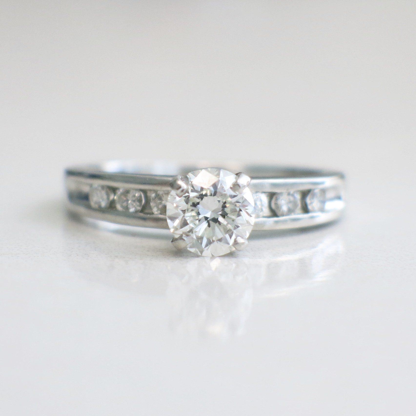 Vintage Platinum Diamond And Diamond Accented Engagement