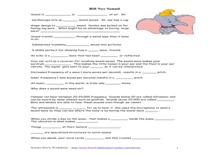 Bill Nye - Sound Worksheet for 5th - 7th Grade | Bill nye ...