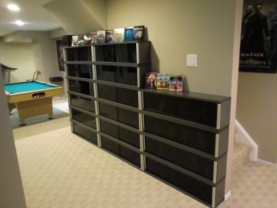 blu ray collection in 14 ikea kaxas wall units home theater pinterest walls. Black Bedroom Furniture Sets. Home Design Ideas
