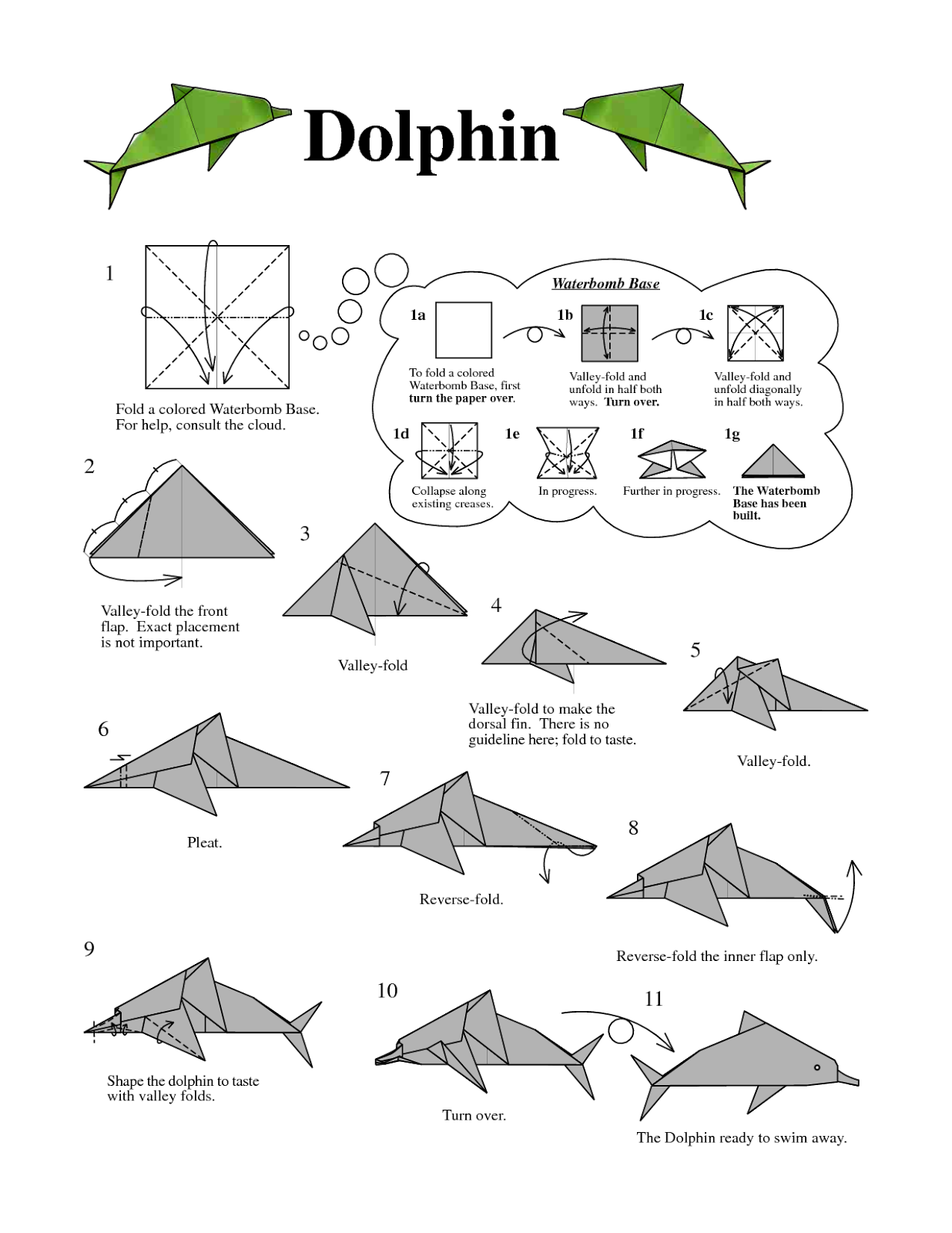 Origami Dolphin Instructions