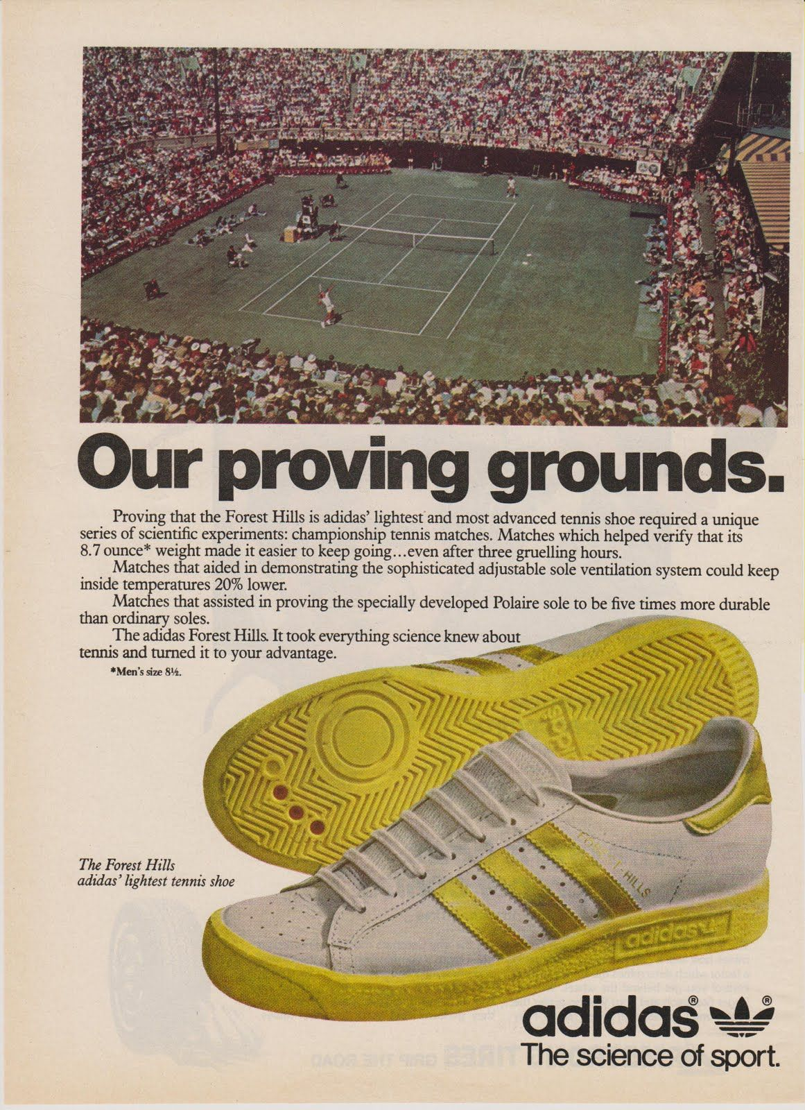 separation shoes b74fb cb5d3 Vintage Adidas ad for the Forest Hills, 1979