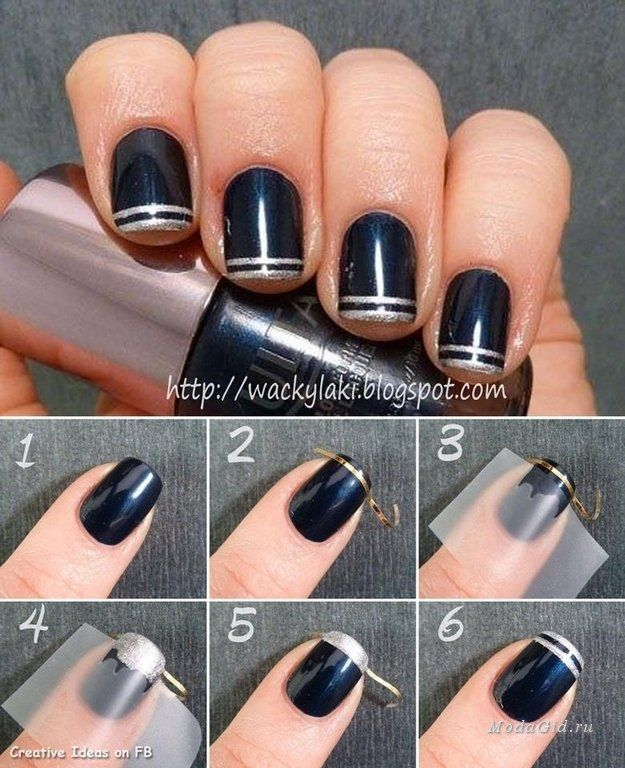 Легкие узоры на ногтях в домашних условиях фото пошагово