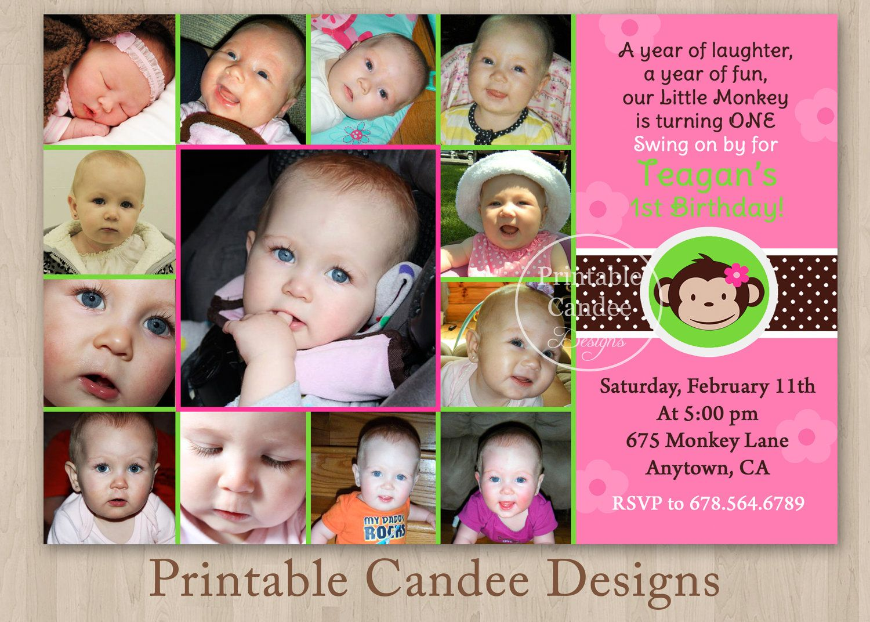 Mod Monkey Girl Photo Collage First Birthday Invitation - Custom Printable Photo Collage. $15.00, via Etsy.