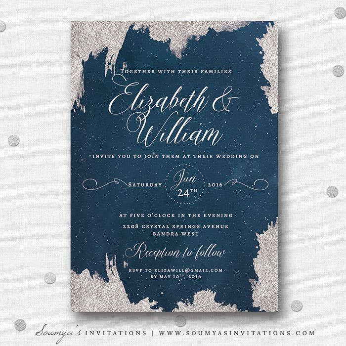 navy blue and silver grey wedding invitation star wedding invitation starry night celestial wedding - Starry Night Wedding Invitations