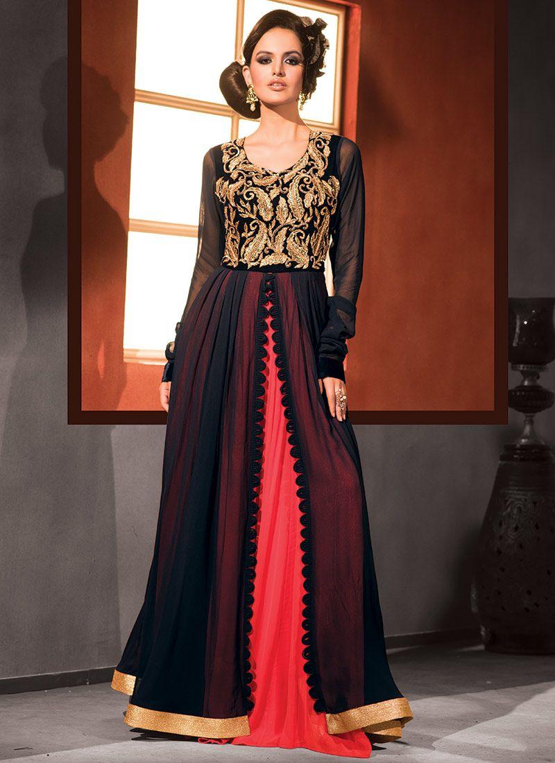 Blue n red pure georgette layered gown anarkali salwar kameez