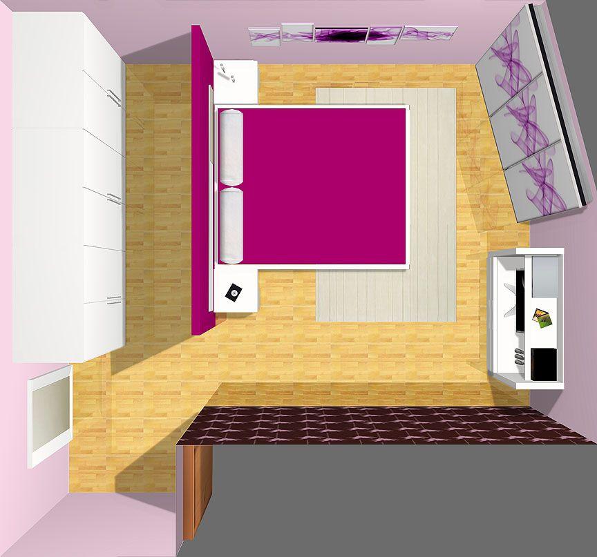 Muebles 3D. Dormitorio con armario vestidor de puertas batientes en ...