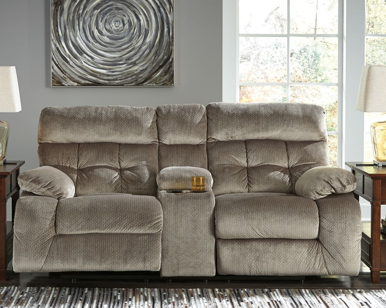Marvelous Brassville Reclining Loveseat With Console Graystone In Andrewgaddart Wooden Chair Designs For Living Room Andrewgaddartcom