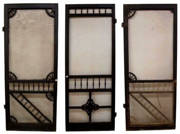 antique wood frame screen doors in black paint