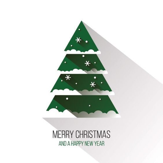 Flat Christmas Tree Vector Graphic Happy Holidays Long Shadow
