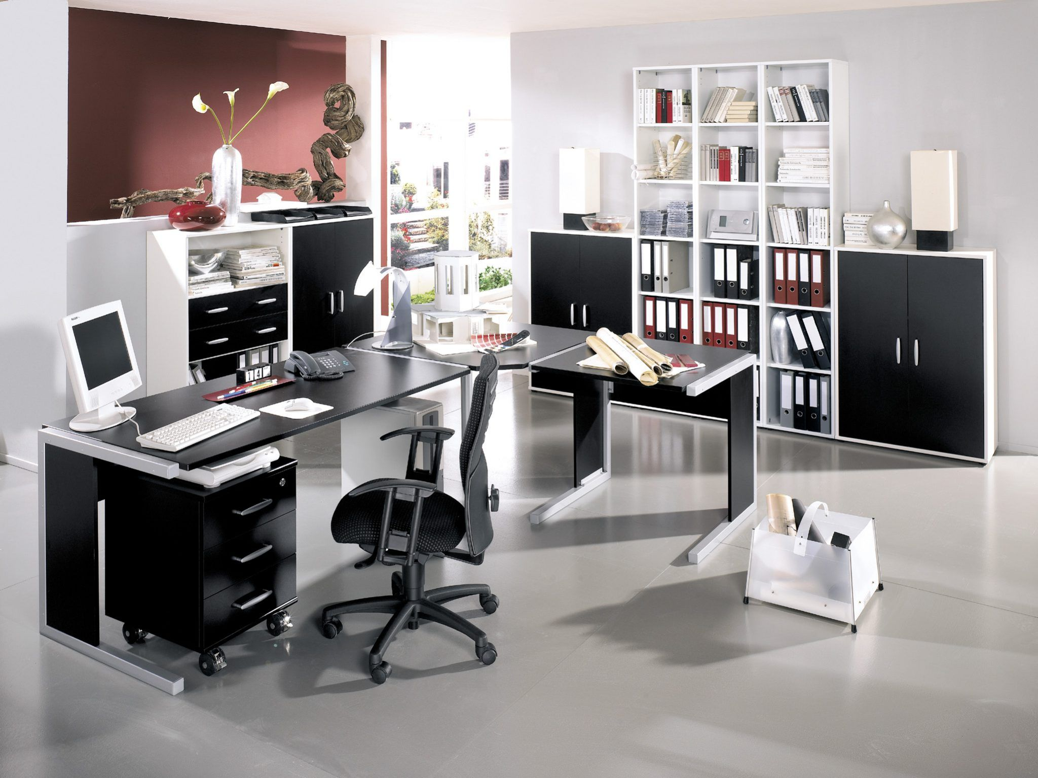 elegant home office chair. Enchanting Sectional Desk With Eurway And Comfortable Office Chair Plus Paint Concrete Floor For Elegant Home Design Austin Modern Furniture