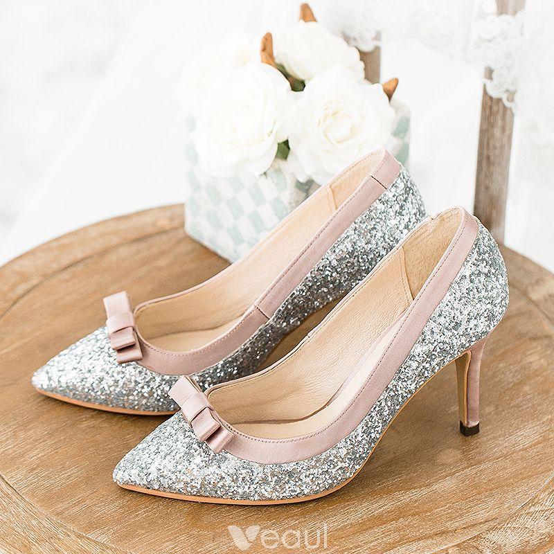 Blyszczace Srebrny Buty Slubne 2018 Skorzany Cekiny Kokarda 8 Cm Szpilki Szpiczaste Slub Czolenka Silver Wedding Shoes Stiletto Heels Heels