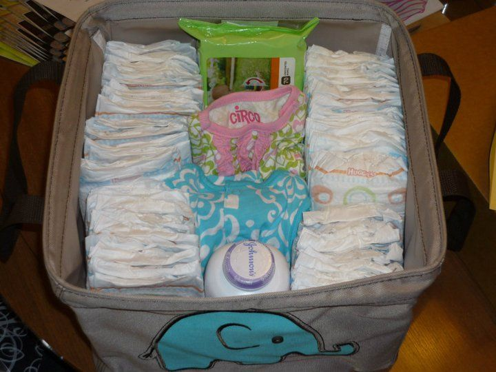 "my favorite baby shower gift to give! - the ""Living Room Kit"" - 50 size 1 diapers, wipes, powder, and a change of clothes - a MUST-HAVE!"