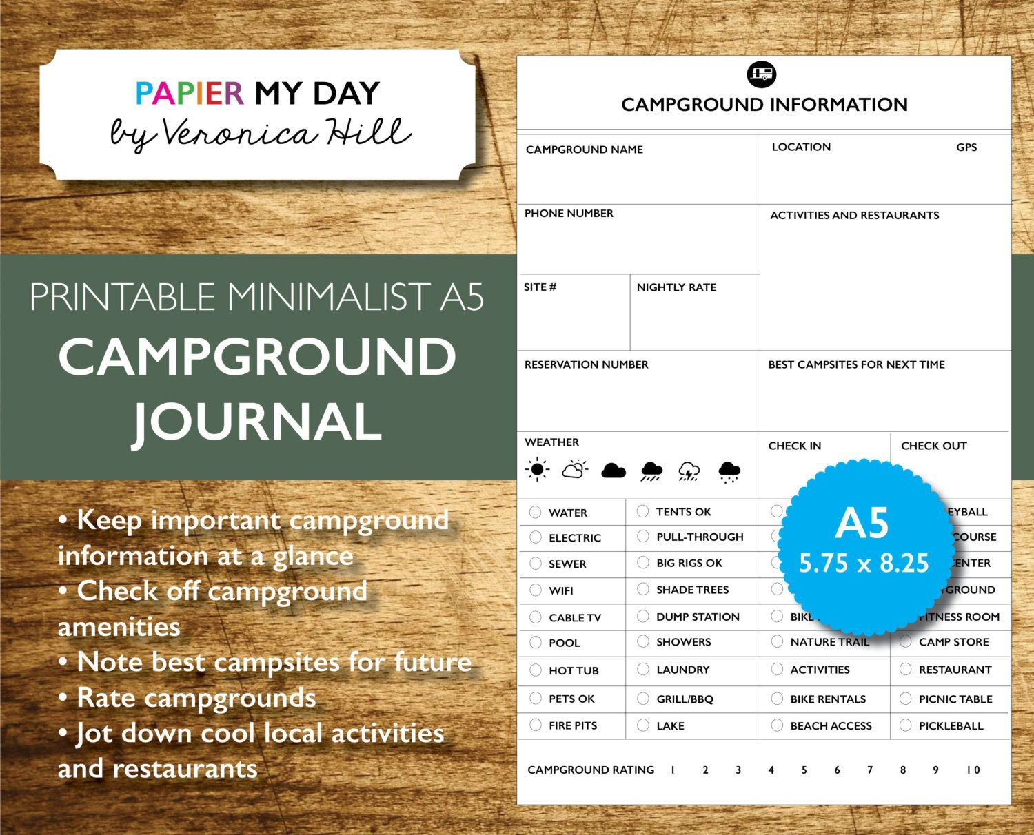 Printable Campground And Rv Park Journal