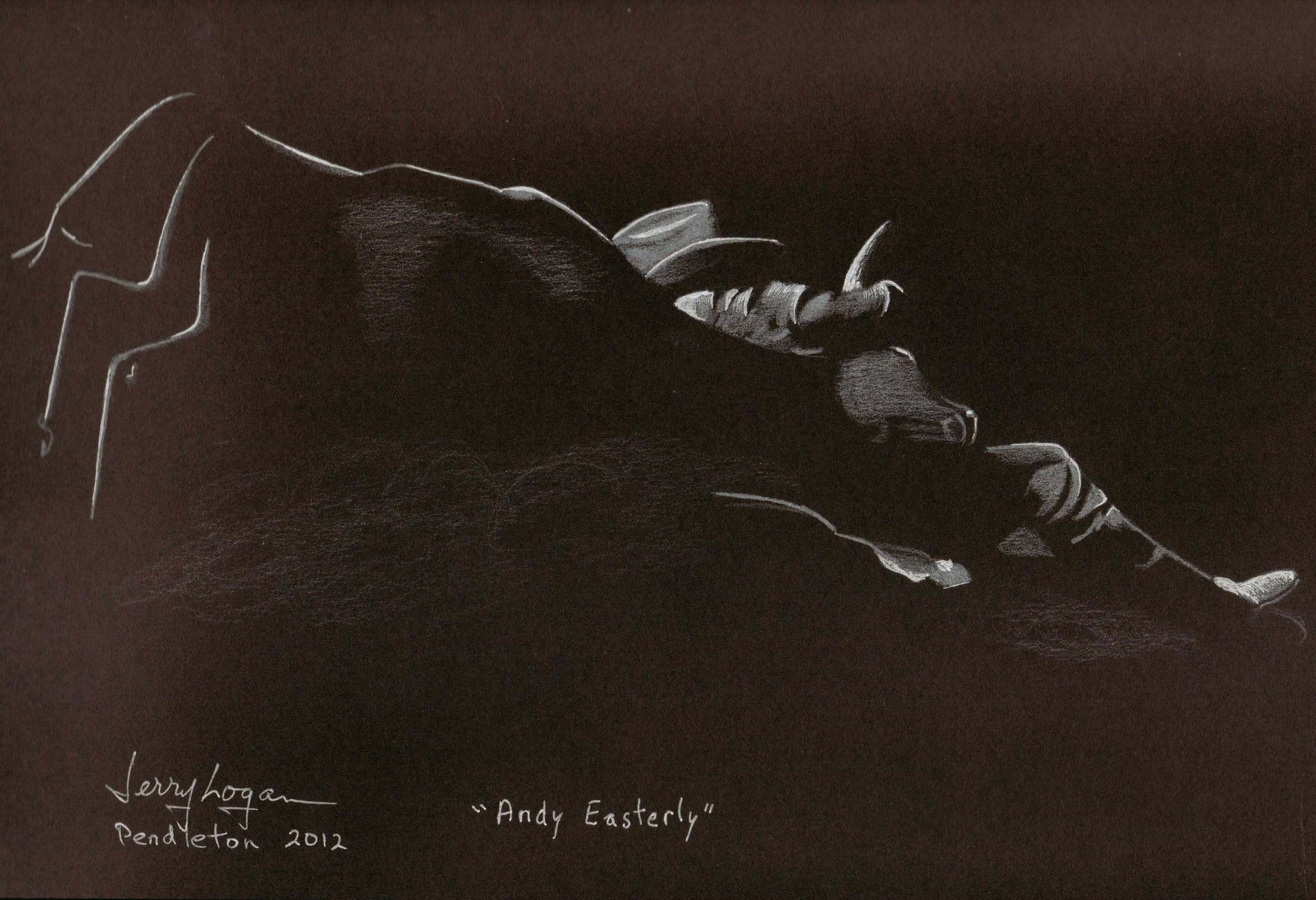 Andy Easterly.  White pencil on black paper.