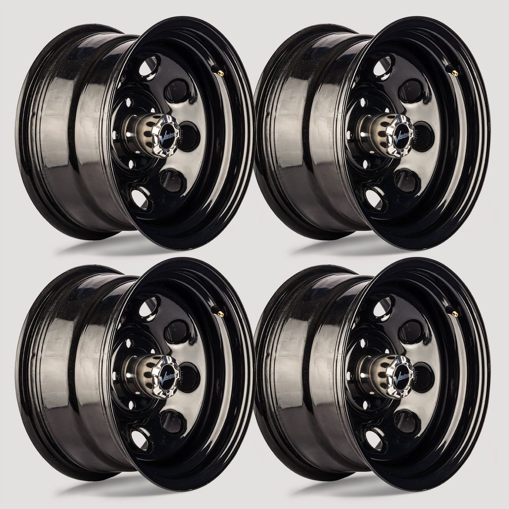 Set 4 16 Vision 85 Soft 8 Gloss Black Steel Wheel 16x8 6x5 5 6
