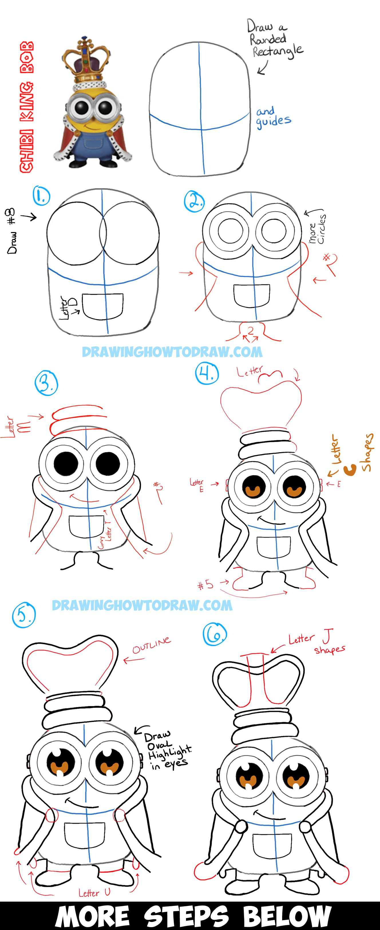How To Draw Cute Chibi King Bob From The Minions Movie With Easy Tutorial How To Draw Step By Step Drawing Tutorials Cute Drawings Minion Drawing Easy Disney Drawings