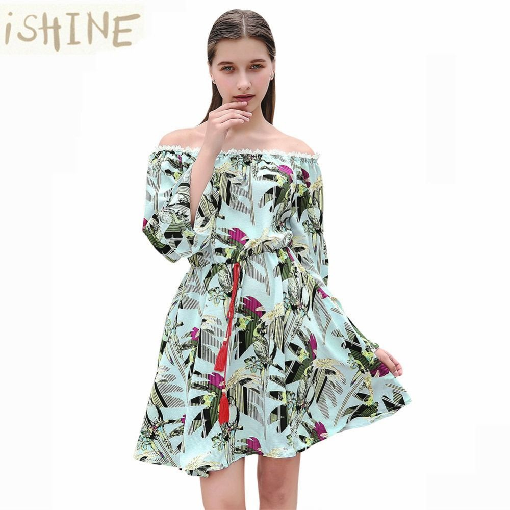 Ishien women stamp horn printed long sleeve print dress cherry