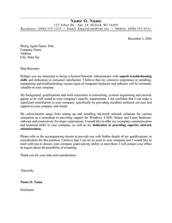 systems administrator cover letter example - Example It Cover Letter